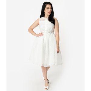 NWOT Unique Vintage White Collared Dress